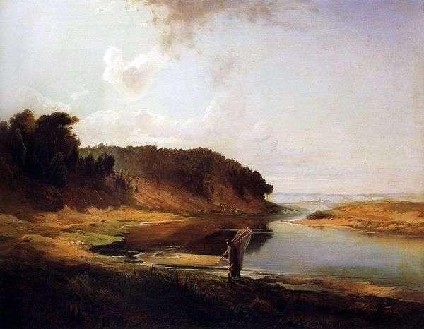 川と漁師のいる風景   Alexey Savrasov