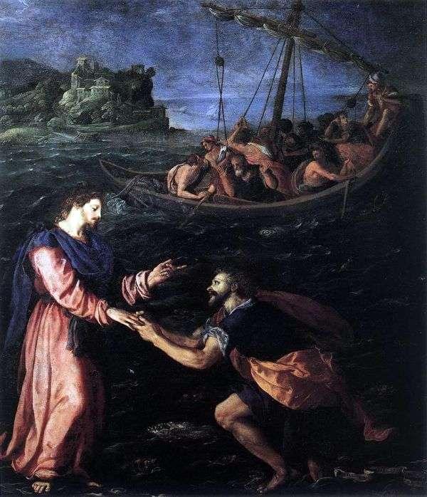 聖ペテロ、水の上を歩く   Alessandro Allori