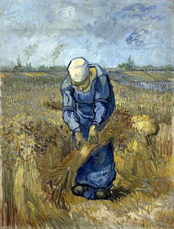 農民の女性は(ミレーによって)束を編みます   Vincent Van Gogh