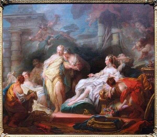 プシュケは彼の姉妹にキューピッドの贈り物を見せる   Jean Honore Fragonard