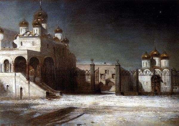 夜   モスクワクレムリンの大聖堂広場   Alexei Savrasov