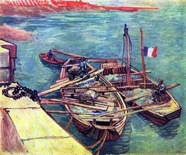 桟橋   Vincent Van Goghで砂とボート