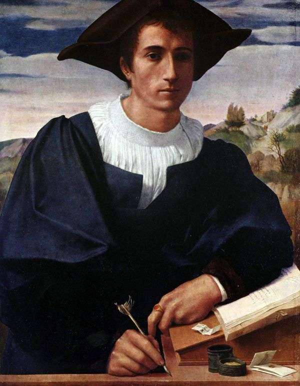 机の上の若い男   Francesco di Cristofano Franciabigio