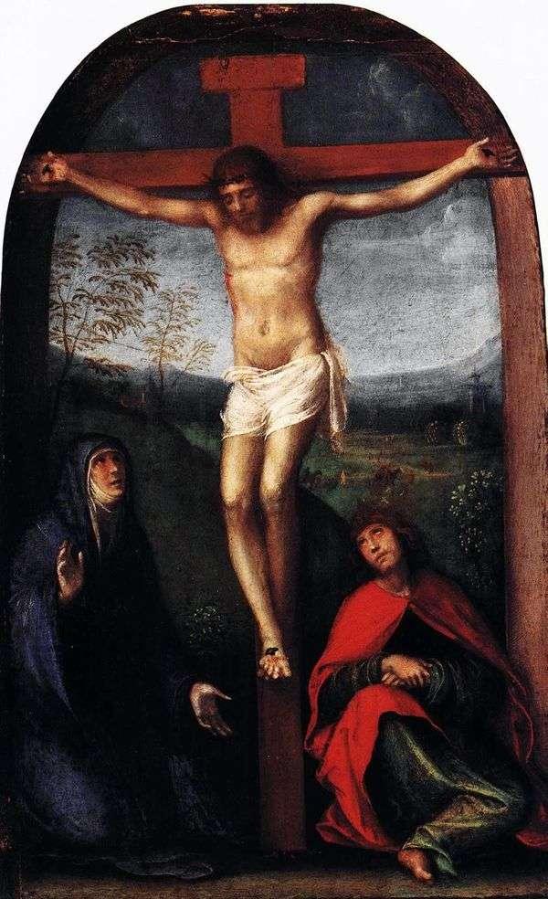 メアリーと聖ヨハネ福音伝道者との十字架につけられたキリスト   Francesco Franche