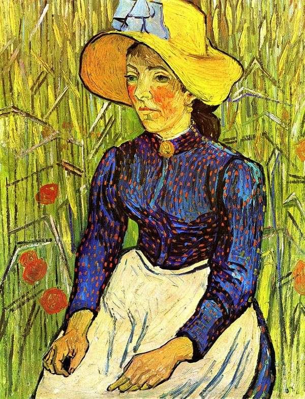 麦わら帽子   Vincent Van Goghの若い農民の女性