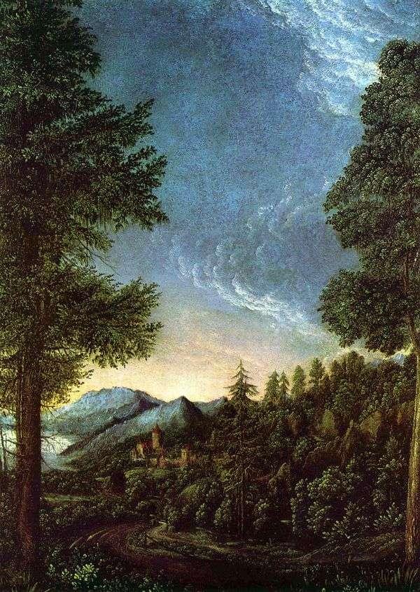 レーゲンスブルク   アルブレヒトアルトドルファーの下でドナウ川渓谷の眺め