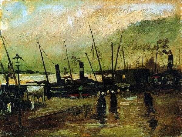 アントワープ   Vincent Van Goghの船と埠頭