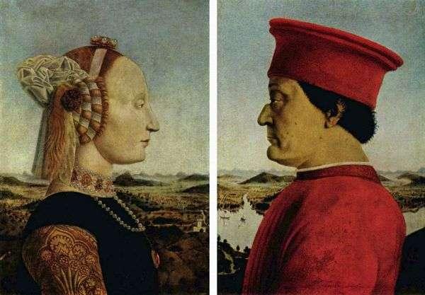 デュークフェデリーゴモンテフェルトと公爵夫人バッティスタスフォルツァ   ピエロデッラフランチェスカの肖像画