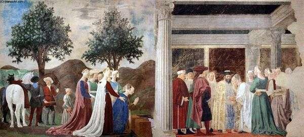 シバの女王がソロモン王に到着   ピエロ・デッラ・フランチェスカ