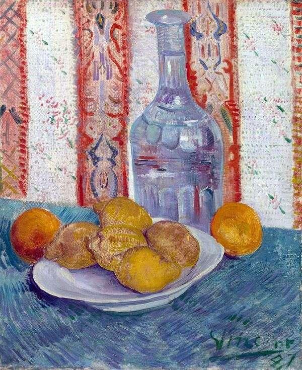 皿の上のデカンタとレモンのある静物   Vincent van Gogh