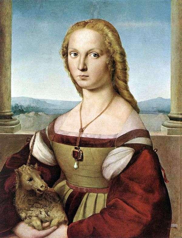 ユニコーンを持つ女性   ラファエル・サンティ