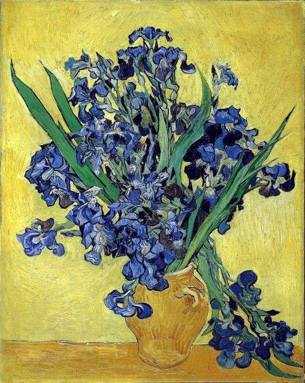 静物:黄色の背景にアイリスと花瓶   Vincent Van Gogh