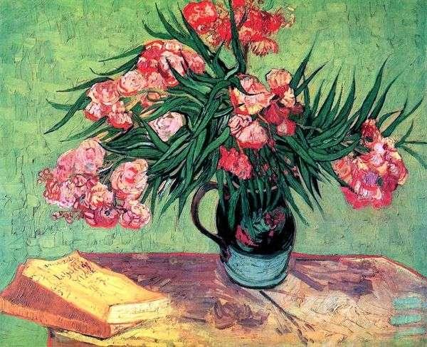 静物画:オレアンダーと本の花瓶   Vincent Van Gogh