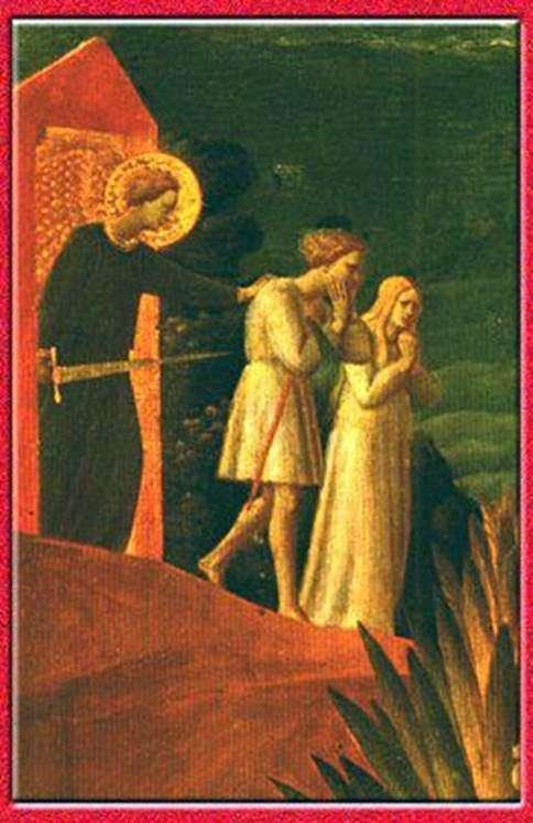 追放する。フレスコ画 Roshchenie   Fra Beato Angelicoの洗礼者ヨハネ教会