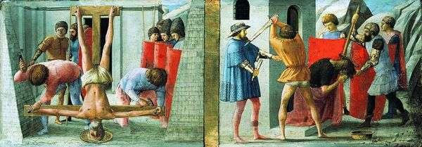 ピーターのはりつけと洗礼者ヨハネの斬首   マサッチオ