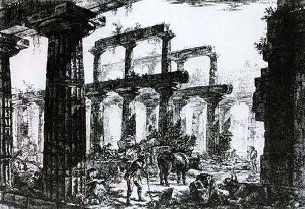 ペストゥム   ジョバンニ・ピラネージのネプチューン神殿の遺跡