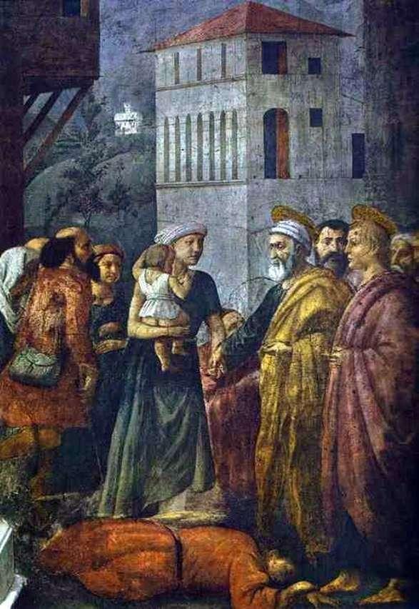 セントピーター、貧しい人々の間で共同体の財産を分配する   Masaccio