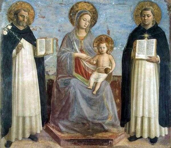 マドンナと子供、聖ドミニクと聖トマスアクィナス   Fra Beato Angelico