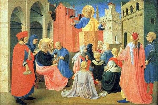 聖ペテロは聖マルコ   Fra Beato Angelicoへの福音を命じました