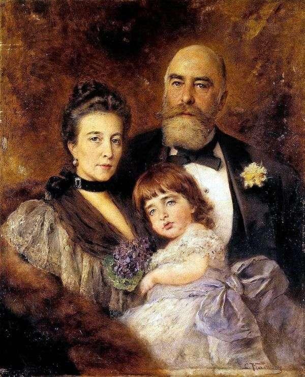M. S. ヴォルコフ、S。N. ヴォルコワ、S。M。ヴォルコフ   マンゼイのグループの肖像画   ウラジミール・マコフスキー