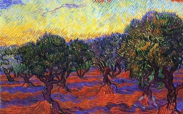 オリーブグローブ:オレンジ色の空   Vincent Van Gogh