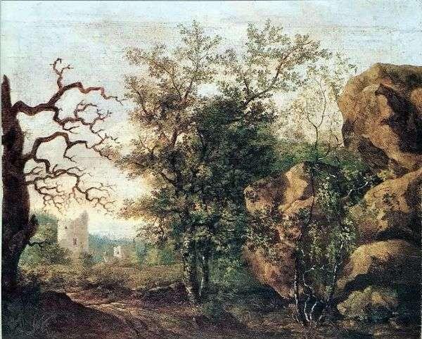 乾燥した木のある風景   Caspar David Friedrich