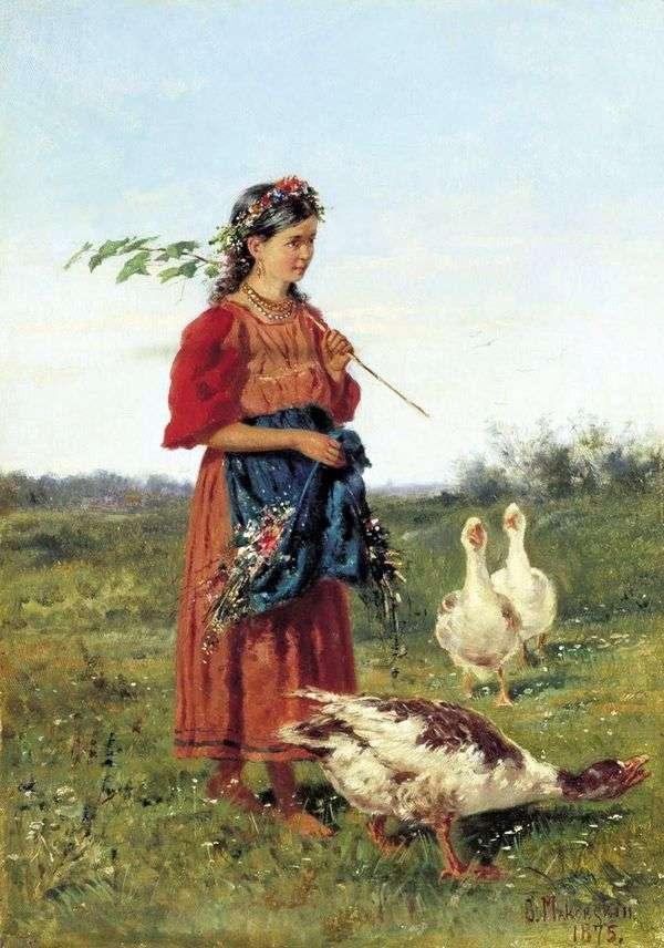ガチョウを持つ少女   ウラジミール・マコフスキー