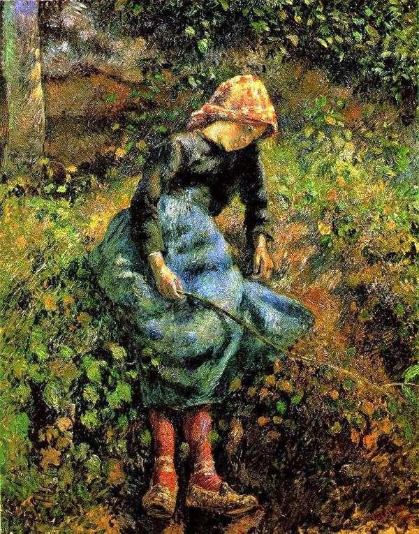 カウガール(ロッドを持つ少女)   Camille Pissarro