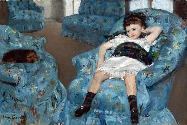 青い椅子の少女   メアリー・キャサット