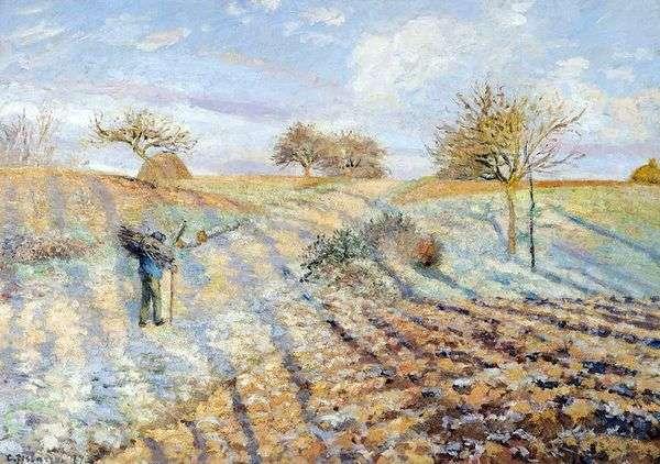 アネリからポントワーズまでの古い道。フロスト   Camille Pissarro