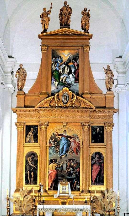トレド   エル・グレコのサントドミンゴエルアンティグオ教会の祭壇