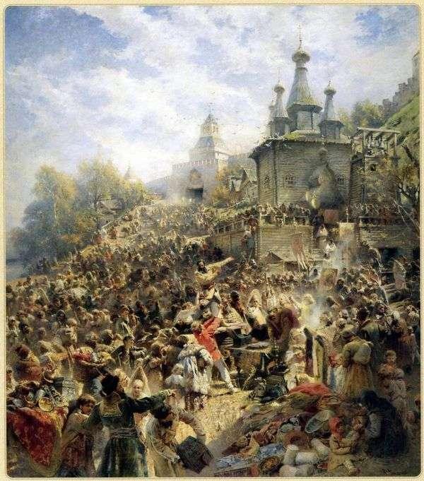 ニジニ・ノヴゴロド広場のミニン、人々に寄付を促す   ウラジミール・マコフスキー