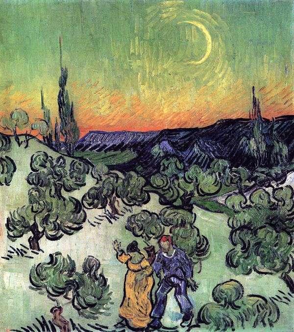 散歩するカップルと月の三日月のある風景   Vincent Van Gogh