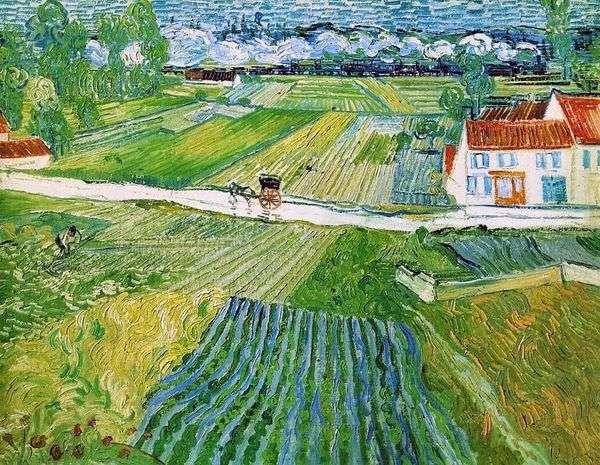 バックグラウンドでの乗組員と電車のある風景(雨上がりのAuversの風景)   Vincent Van Gogh
