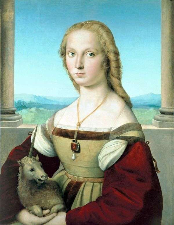 ユニコーンを持つ女性の肖像   ラファエル・サンティ