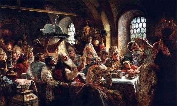 18世紀のBoyarsky結婚披露宴   コンスタンティン・マコフスキー