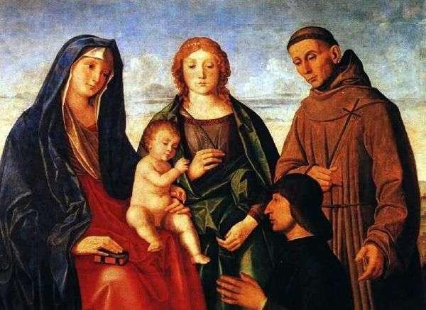 赤ちゃんと一緒のマリア、アッシジの聖フランシスコ、聖者と寄付者   Vincenzo Catena