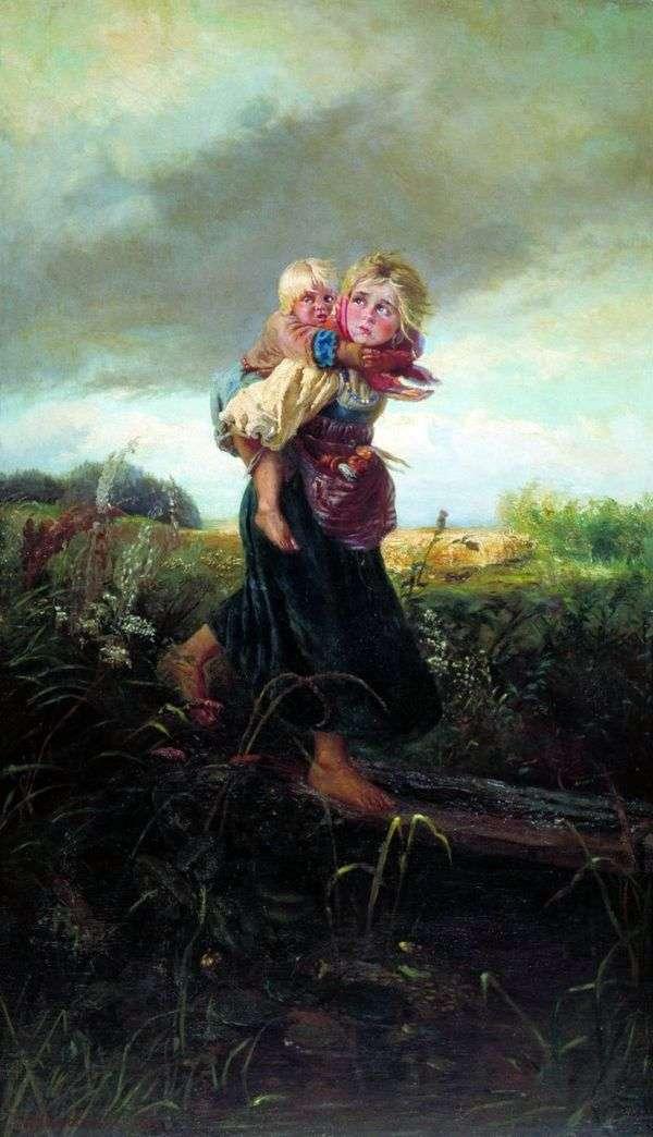 雷雨から走る子供たち   Konstantin Makovsky