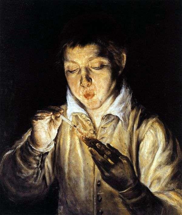トーチを吹く少年   El Greco
