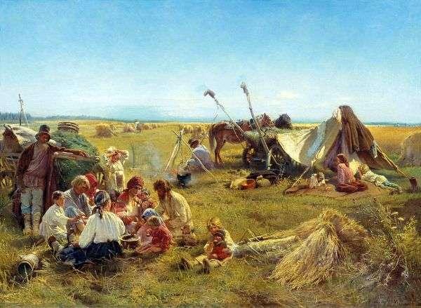 収穫の間に農民の昼食   コンスタンティン・マコフスキー