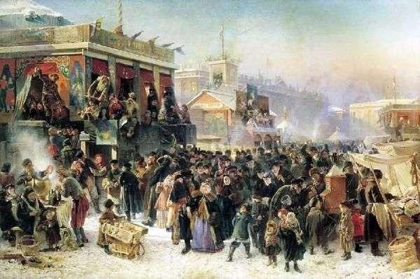 サンクトペテルブルク   Konstantin Egorovich MakovskyのAdmiralteyskaya広場でMaslenitsa中にお祭り