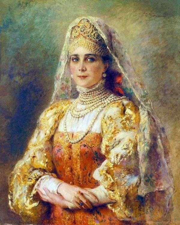 ロシアの衣装   コンスタンティン・マコフスキーのプリンセス・ジナイダ・ニコラエヴナ・ユスポワの肖像画
