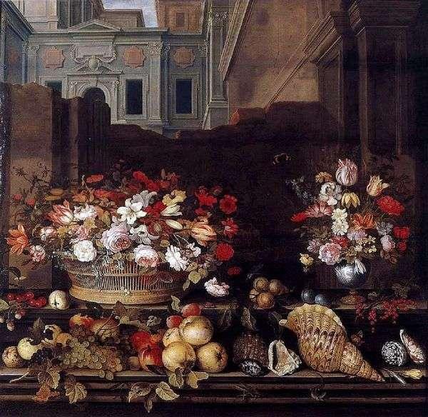 花、果物、殻のある静物   Balthazar van der Ast
