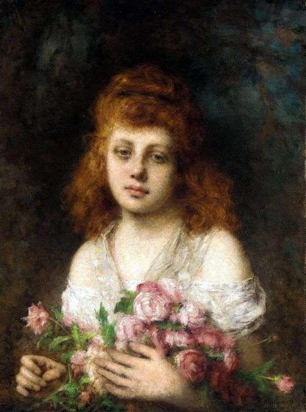 バラの花束を持つ赤い髪の少女   Alexey Kharlamov