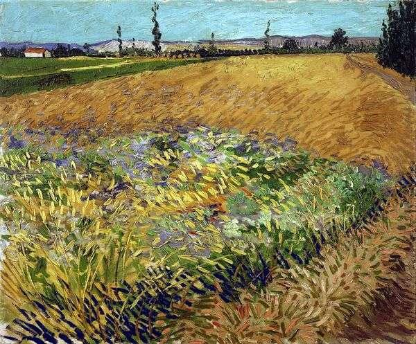 バックグラウンドでの小麦畑と古いアルプスの丘陵地帯   Vincent Van Gogh