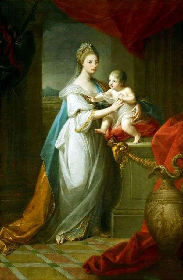 彼女の息子と一緒にハノーバーのウェールズアウグストゥスの王女   Angelika Kaufman