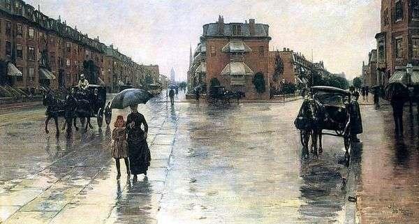 ボストンの雨の日   チャイルドハッサム