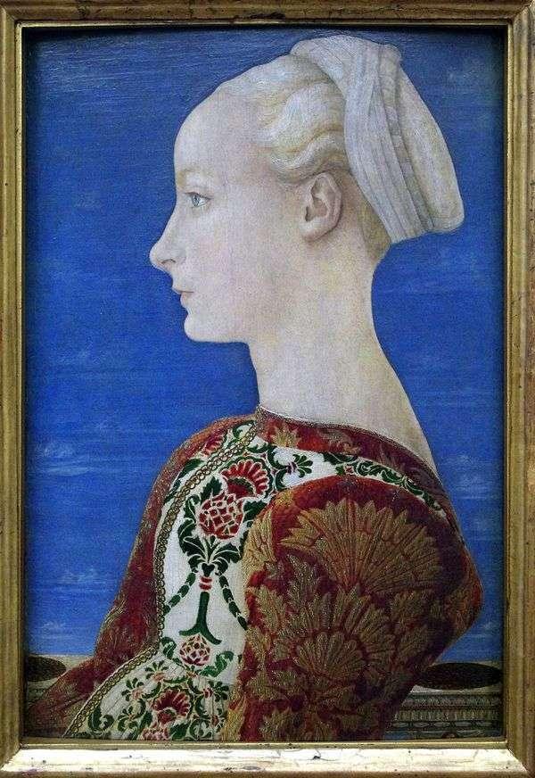 左側のプロフィールの若い女性の肖像画   Antonio del Pollaiolo