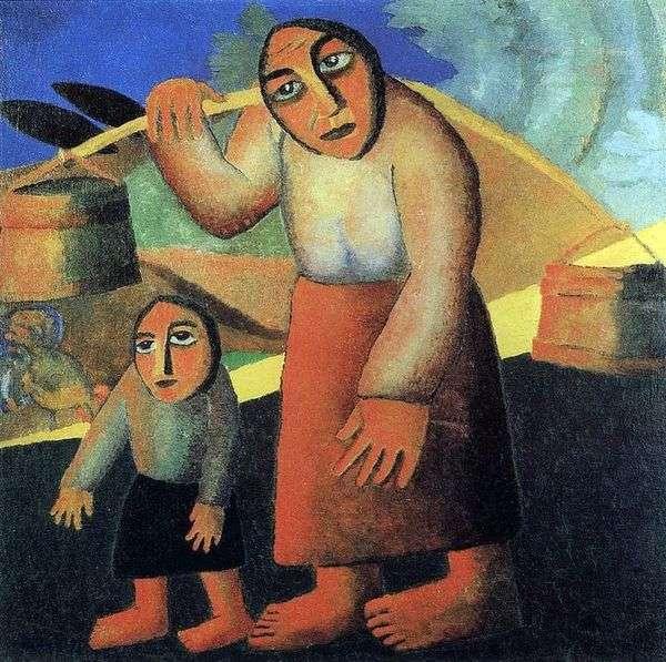 バケツを持つ農民の女性   Kazimir Malevich