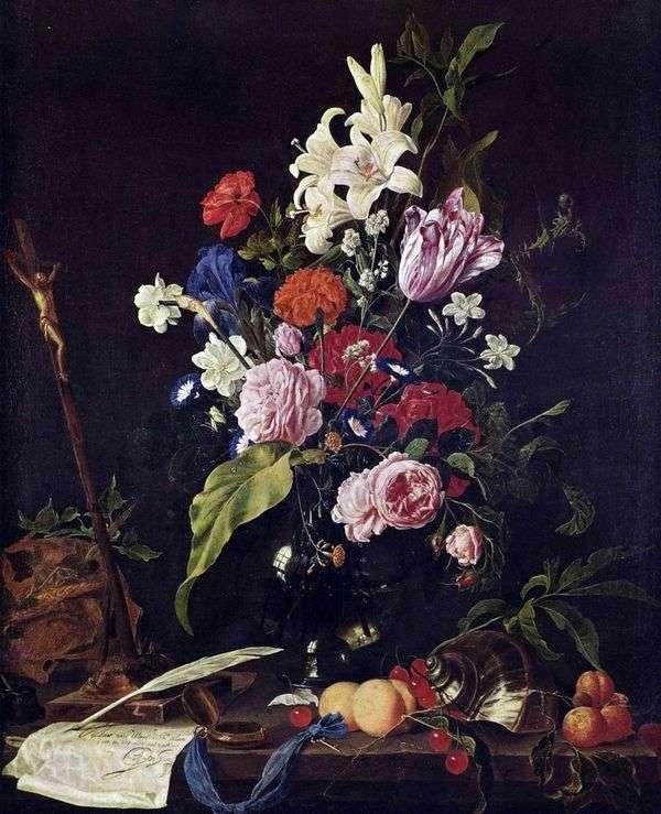 ガラスの花瓶と果物の花   Jan Davids de Hem